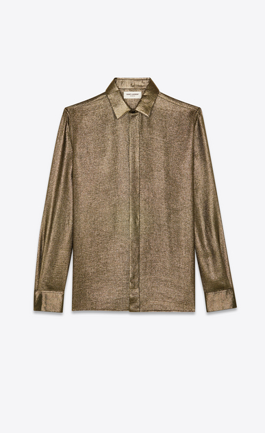SAINT LAURENT Classic Shirts Man Yves-collar shirt in gold Lurex a_V4