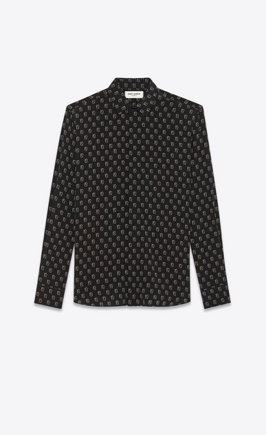 SAINT LAURENT Classic Shirts Man Shirt with SL playing card print in black a_V4