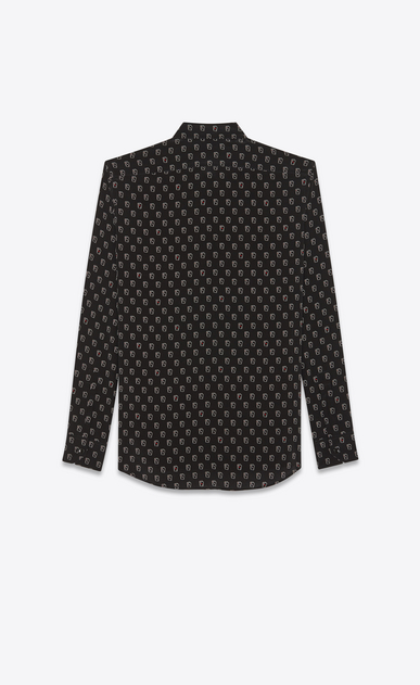SAINT LAURENT Classic Shirts Man Shirt with SL playing card print in black b_V4