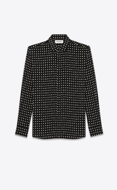 SAINT LAURENT Classic Shirts Man Shirt with YSL star print in black a_V4