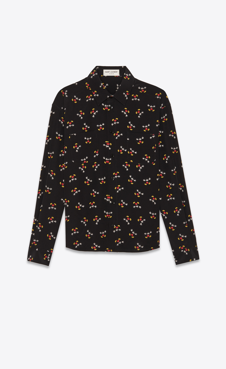 Saint Laurent Silk Shirt With Mickey Mouse Print Ysl