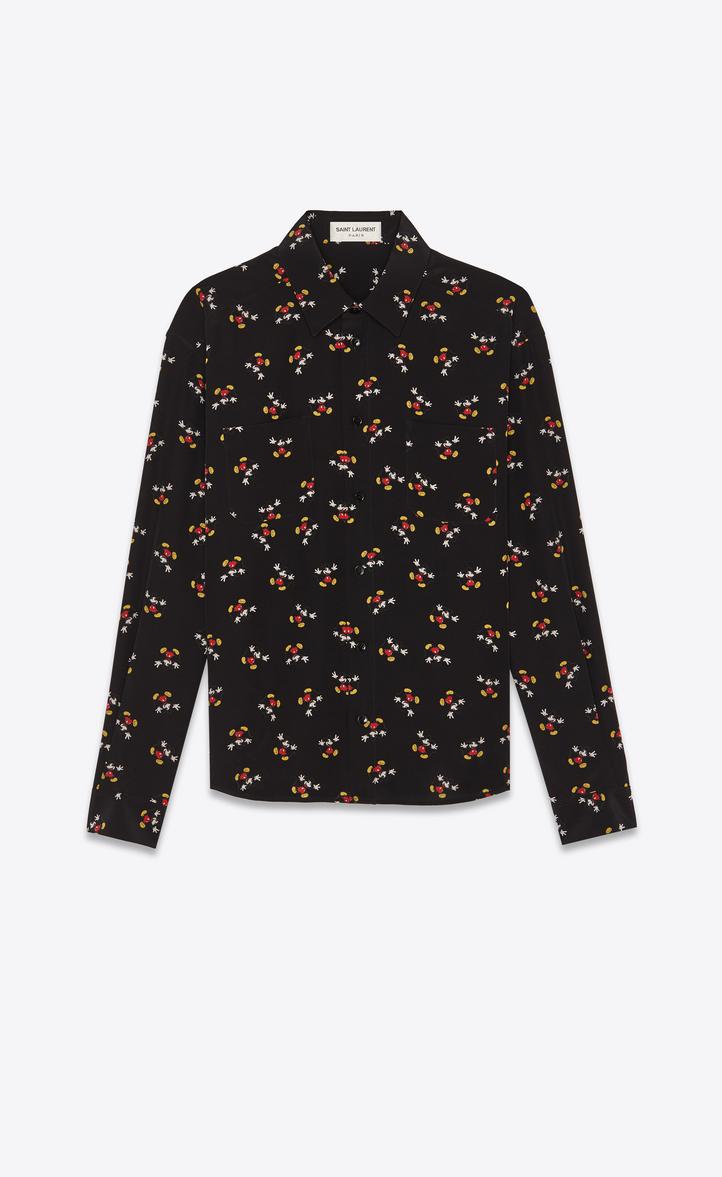 Mickey Mouse-Print Regular-Fit Silk-Crepe Shirt, Black