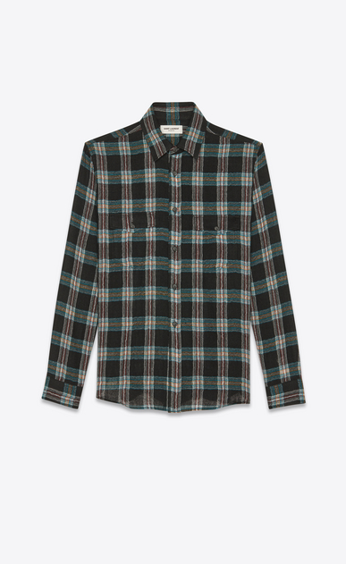 SAINT LAURENT Casual Shirts Man Oversized checked shirt in black wool a_V4