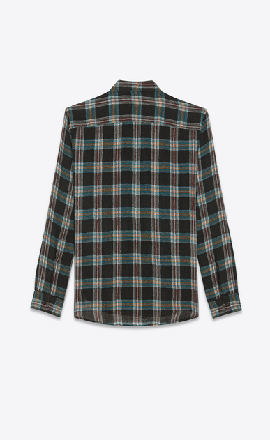 SAINT LAURENT Casual Shirts Man Oversized checked shirt in black wool b_V4