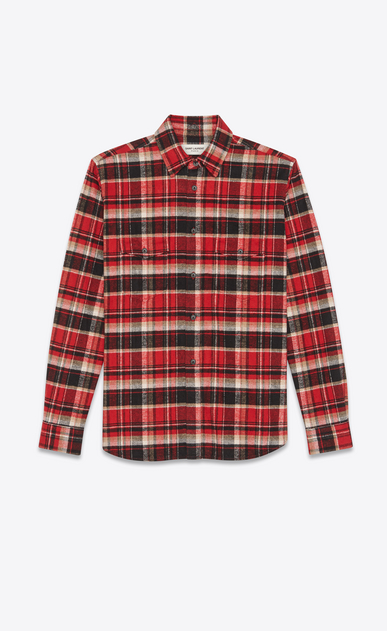 SAINT LAURENT Casual Shirts Man Oversized checked shirt in red and black a_V4