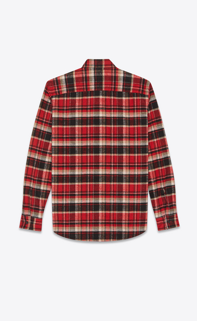SAINT LAURENT Casual Shirts Man Oversized checked shirt in red and black b_V4