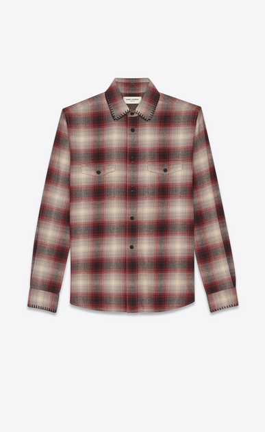 SAINT LAURENT Casual Shirts Man Oversized checked shirt in gray and yellow a_V4