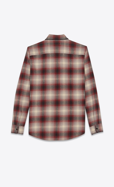 SAINT LAURENT Casual Shirts Man Oversized checked shirt in gray and yellow b_V4