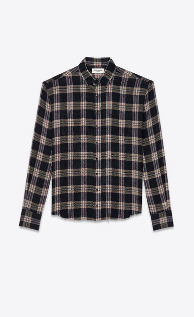 SAINT LAURENT Casual Shirts Man Short checked overshirt in navy blue and beige a_V4