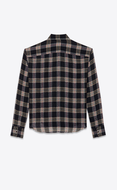 SAINT LAURENT Casual Shirts Man Short checked overshirt in navy blue and beige b_V4