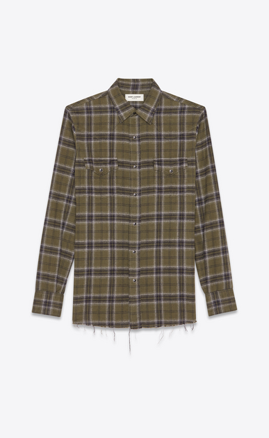 SAINT LAURENT Western Shirts Man Western-style checked shirt in khaki a_V4