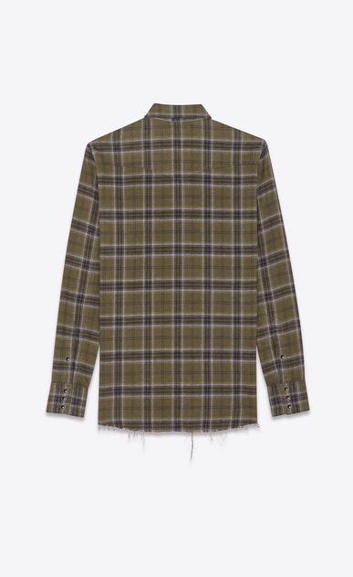 SAINT LAURENT Western Shirts Man Western-style checked shirt in khaki b_V4
