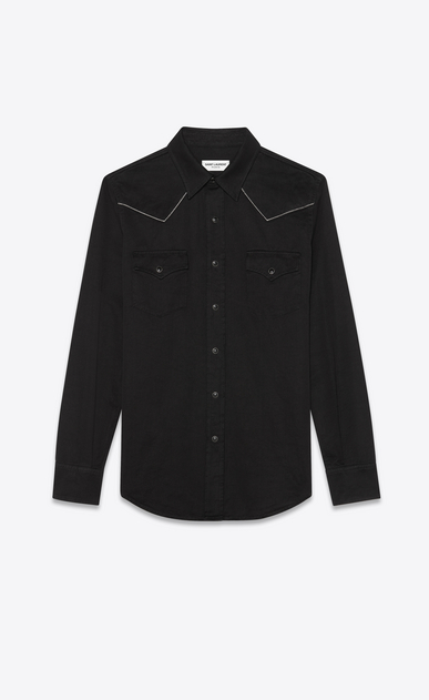 SAINT LAURENT Western Shirts Man Embroidered Western-style shirt in black velvet a_V4