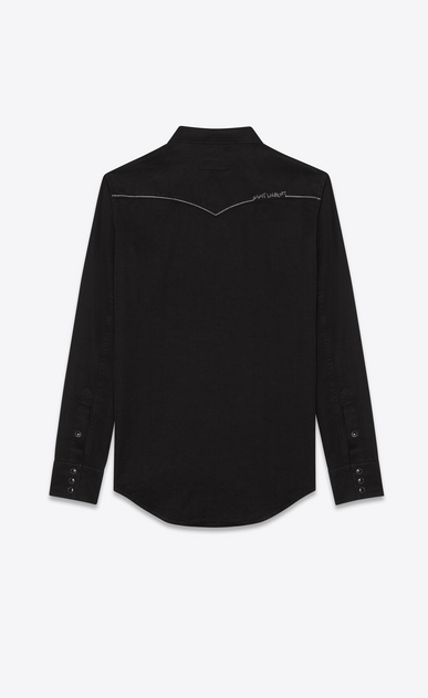 SAINT LAURENT Western Shirts Man Embroidered Western-style shirt in black velvet b_V4