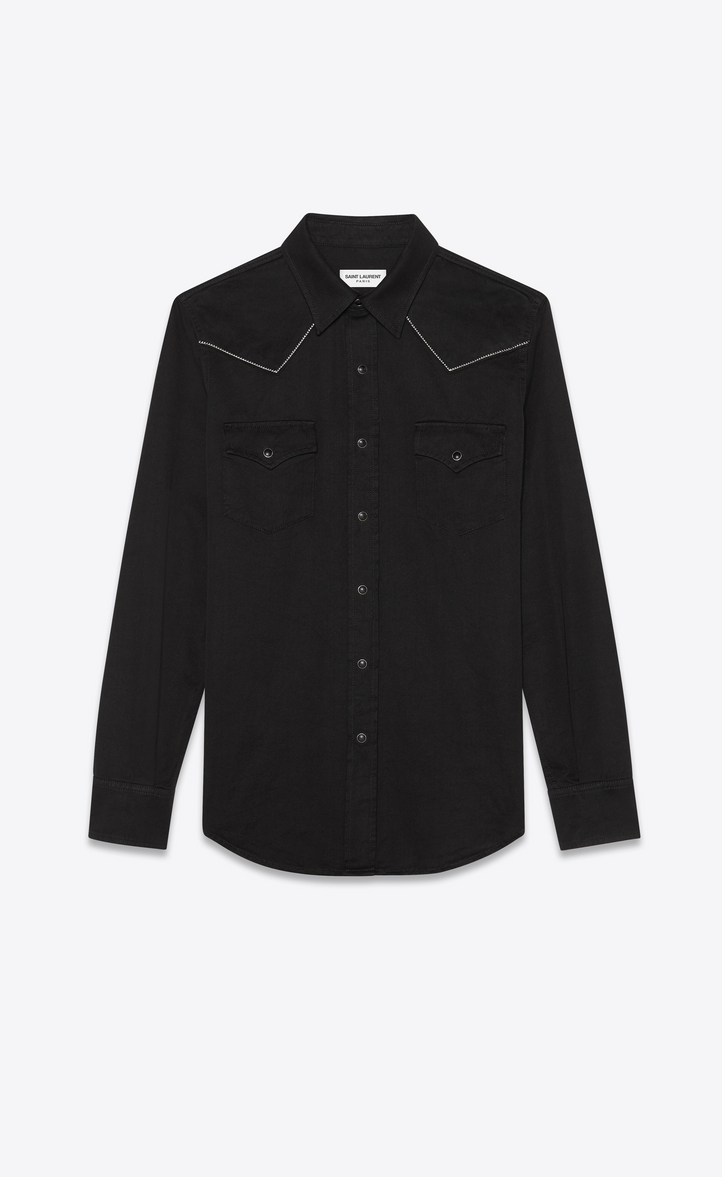 SAINT LAURENT Slim-Fit Embroidered Cotton-Twill Western Shirt, Black
