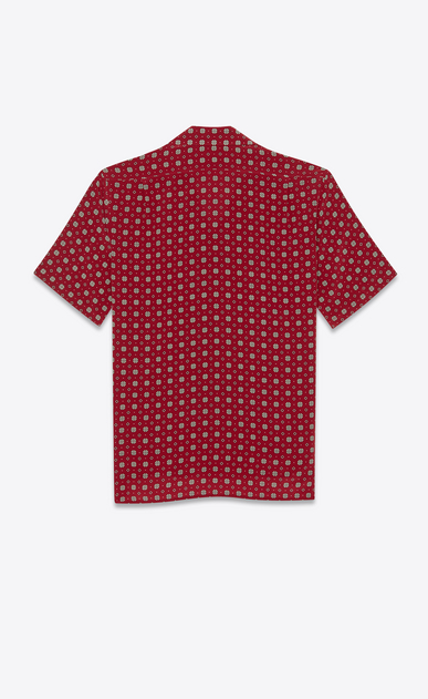 SAINT LAURENT Casual Shirts Man Shirt with small stained-glass window print in burgundy b_V4