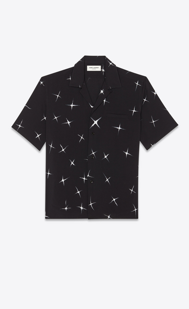 SAINT LAURENT Casual Shirts Man Shirt with shooting star print in black a_V4