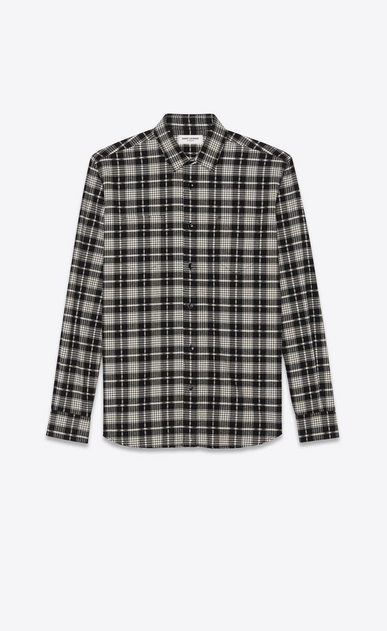 SAINT LAURENT Casual Shirts Man Shirt in checked black and white cotton a_V4