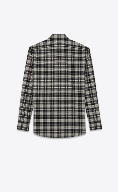 SAINT LAURENT Casual Shirts Man Shirt in checked black and white cotton b_V4