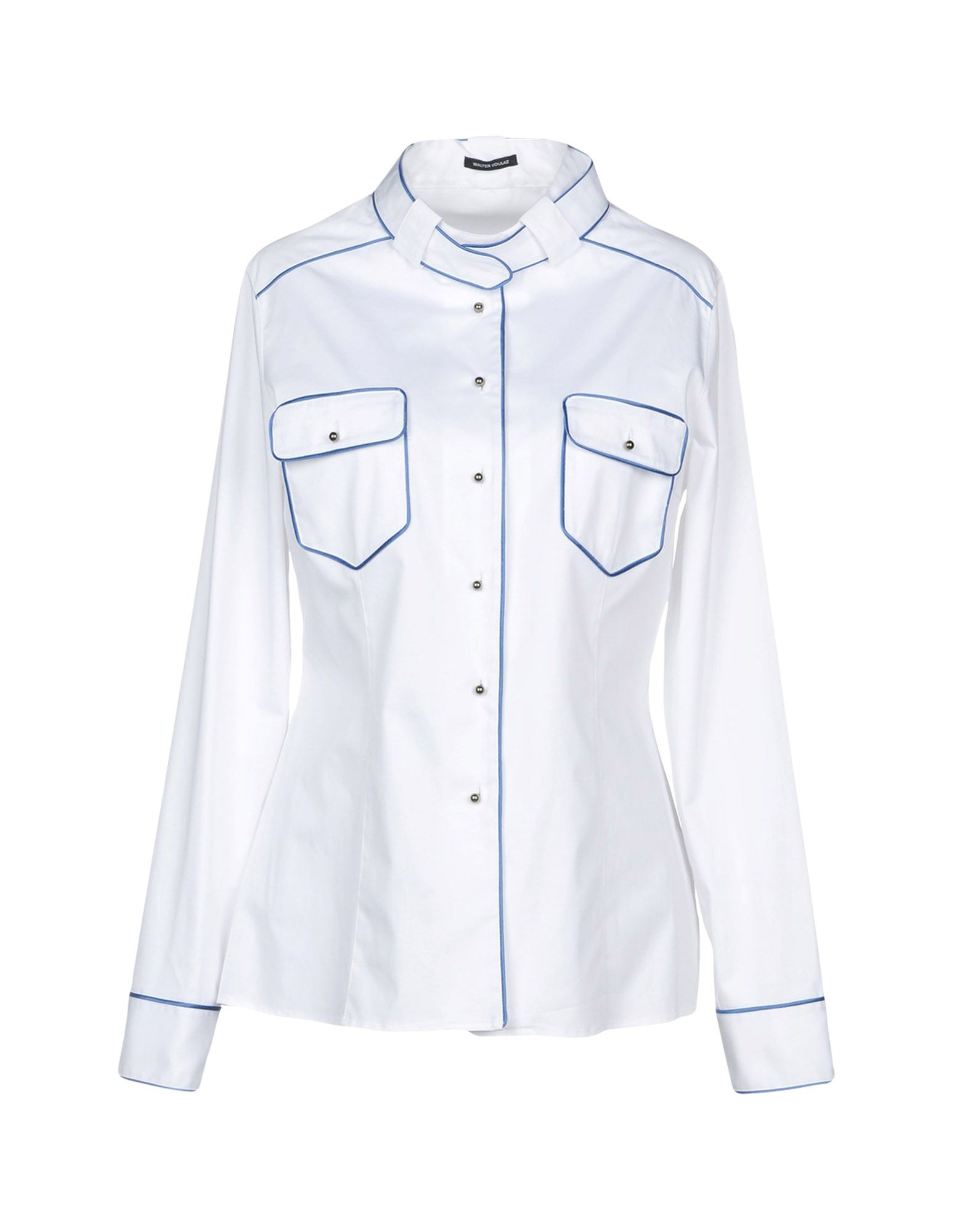 WALTER VOULAZ Solid Color Shirts & Blouses in White
