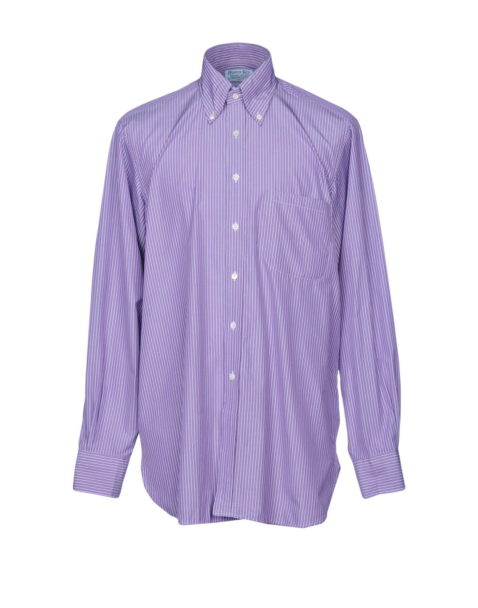 HILDITCH & KEY Striped Shirt in Purple