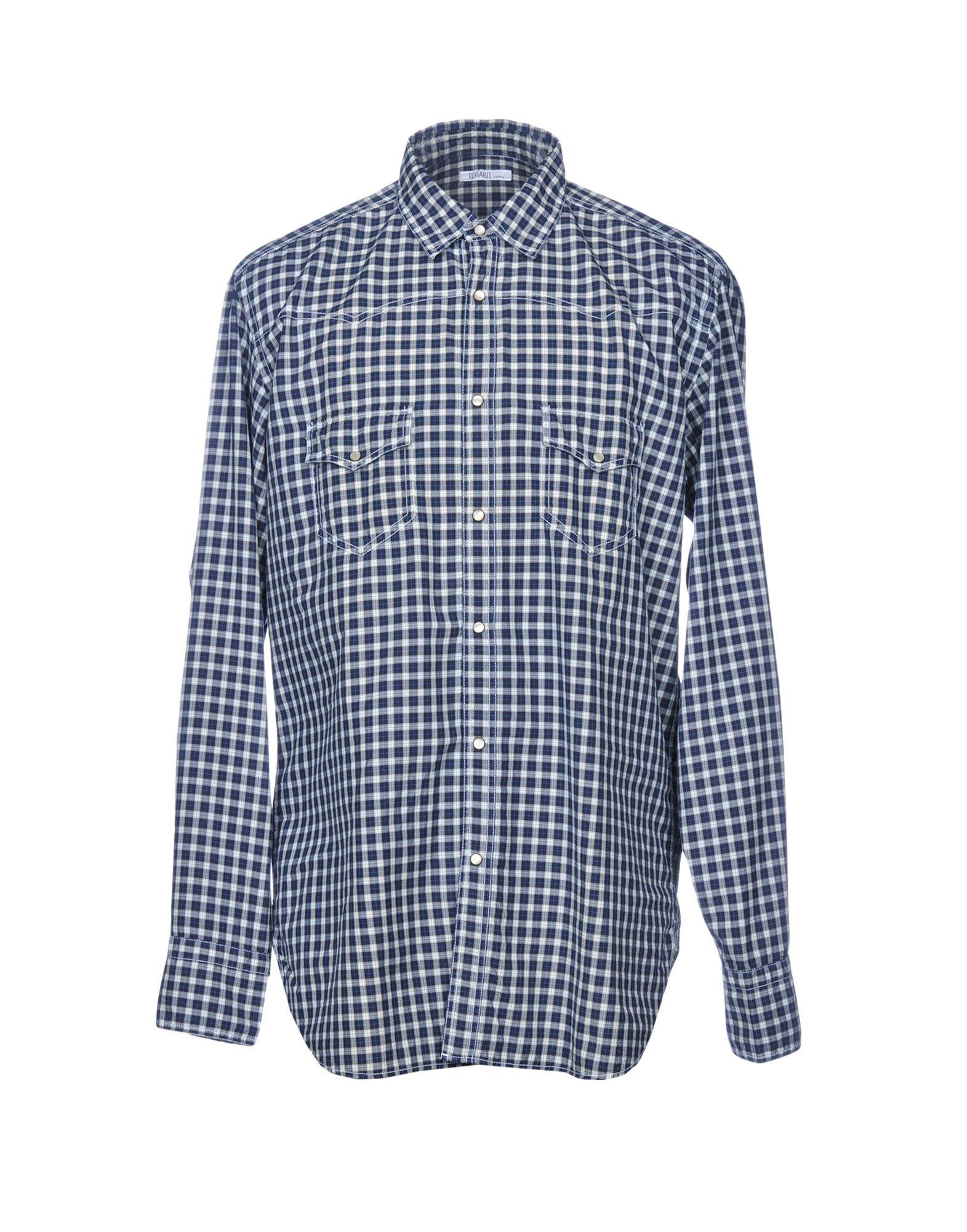 《送料無料》TESSABIT COMO メンズ シャツ ダークブルー 42 コットン 100%