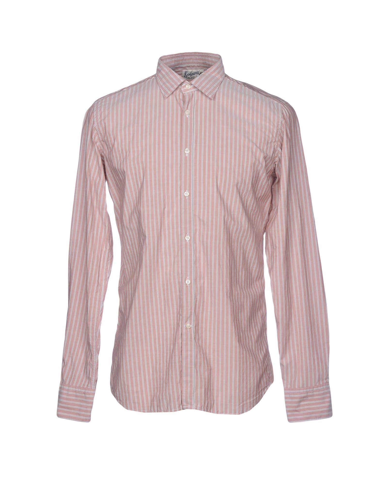 《送料無料》BEVILACQUA メンズ シャツ ローズピンク S コットン 100%