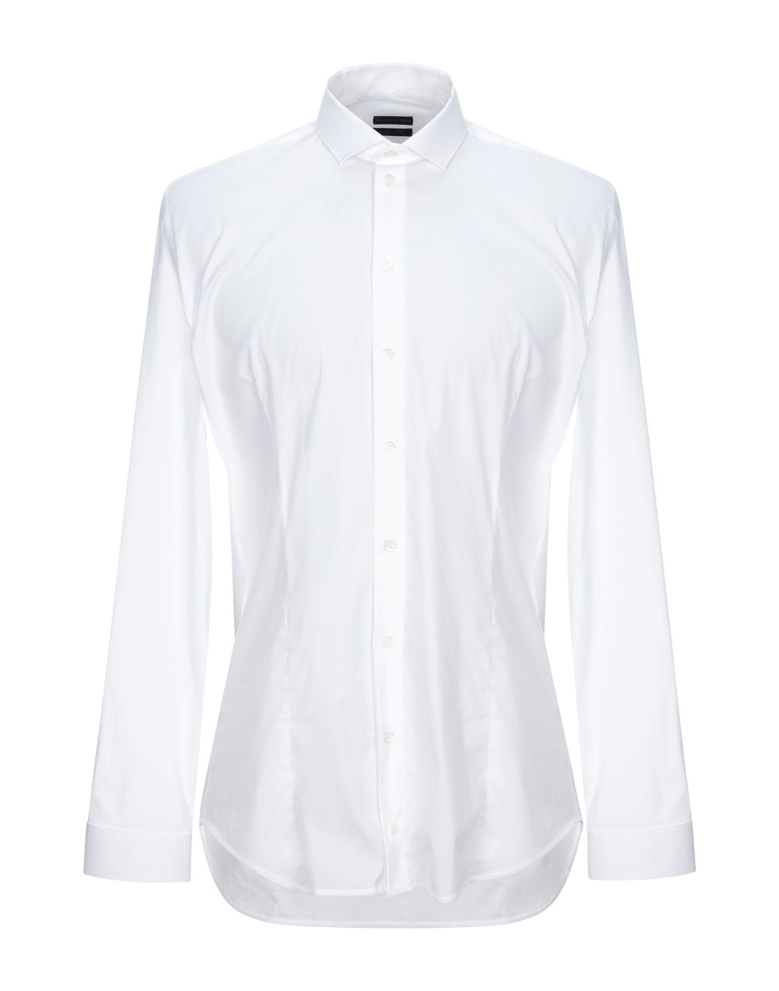 《セール開催中》PATRIZIA PEPE メンズ シャツ ホワイト 48 コットン 67% / ナイロン 27% / ポリウレタン 6%