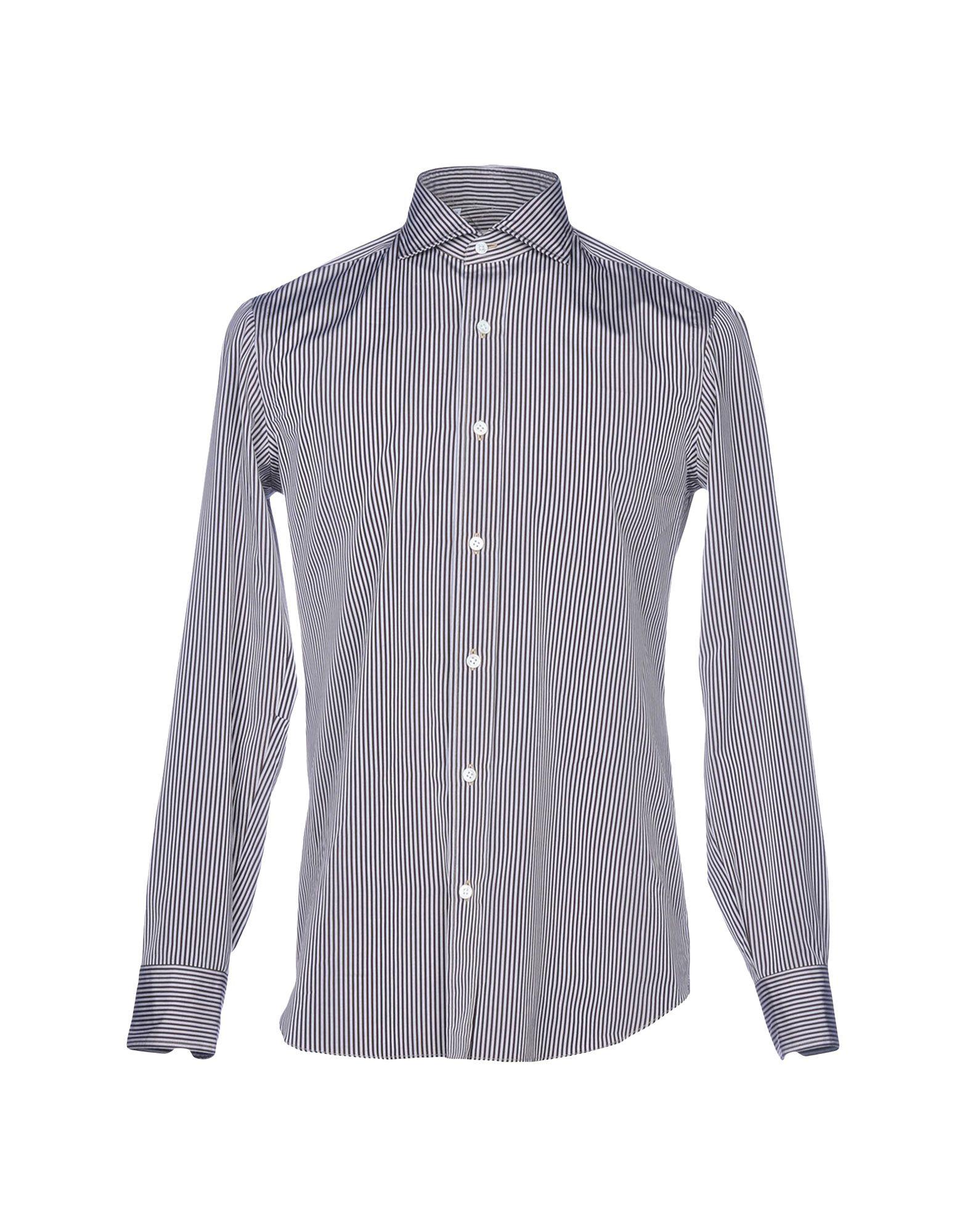 SALVATORE PICCOLO Striped Shirt in Dark Brown