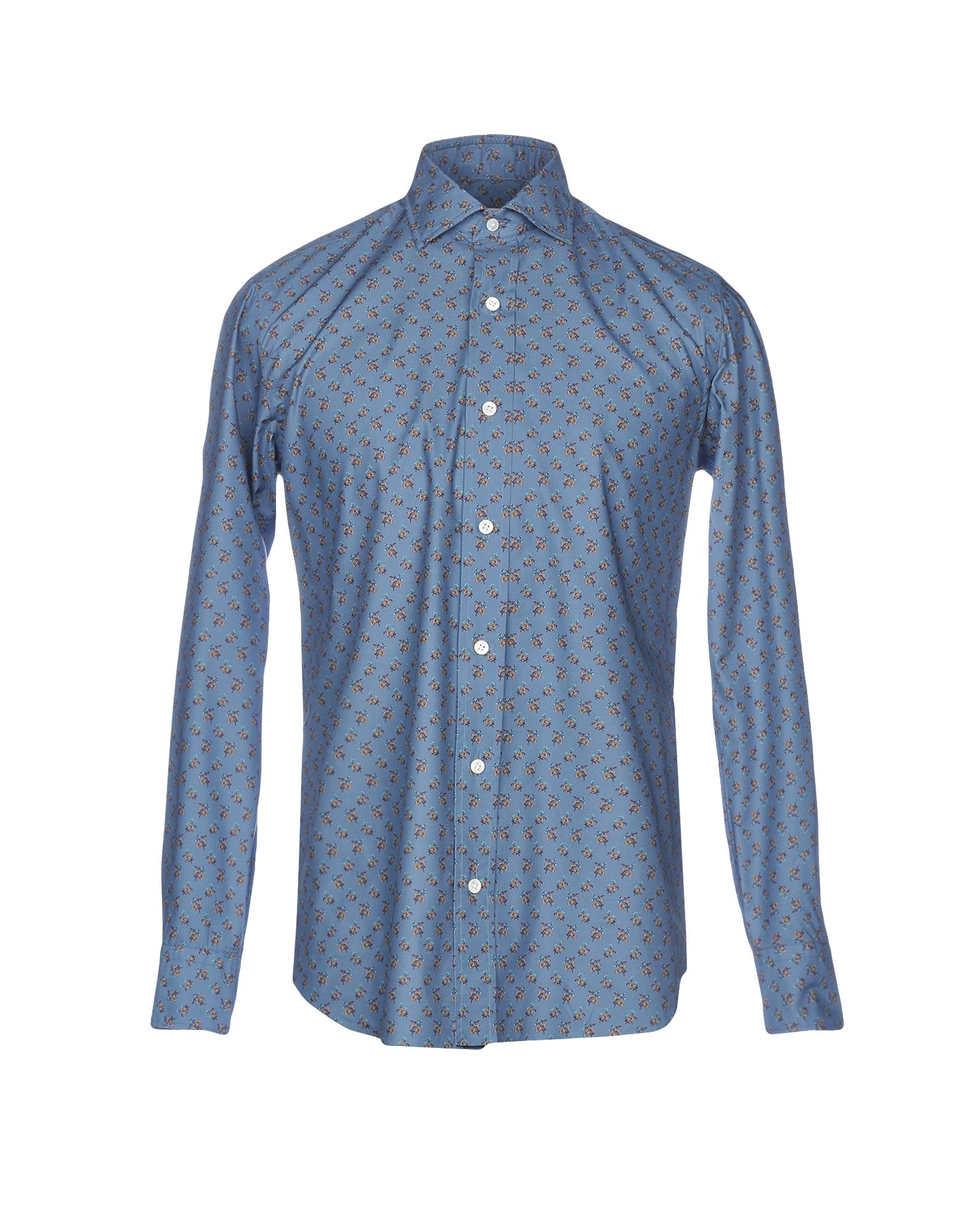 SALVATORE PICCOLO Patterned Shirt in Slate Blue