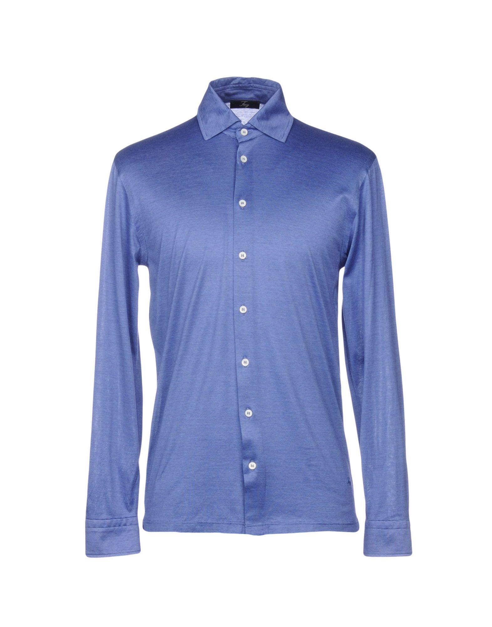 《送料無料》FAY メンズ シャツ ブルー 52 コットン 100%