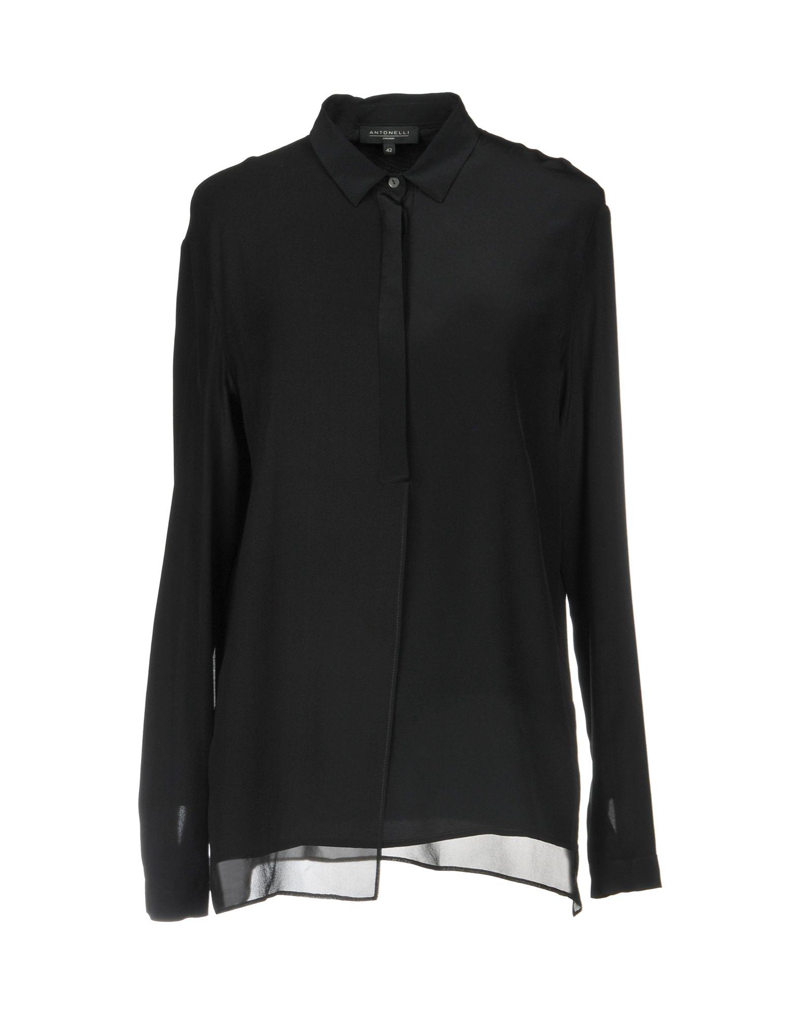 《送料無料》ANTONELLI レディース シャツ ブラック 42 100% シルク