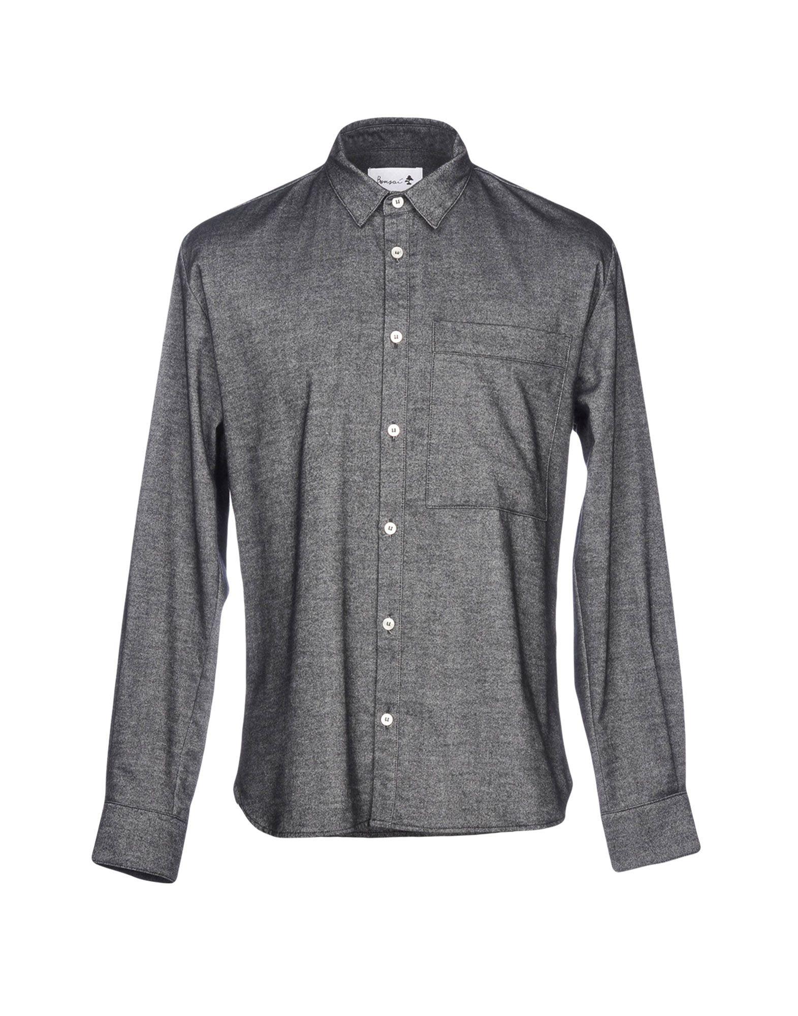 《送料無料》BONSAI メンズ シャツ スチールグレー XS コットン 100%