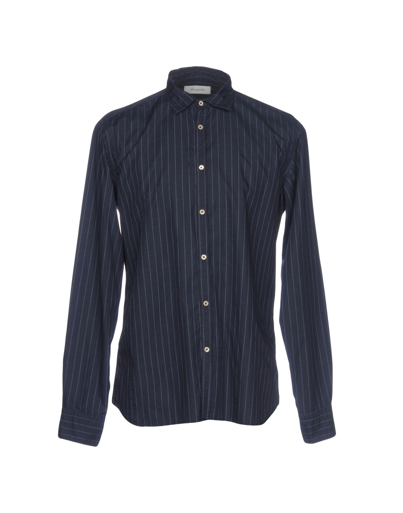 AGLINI Striped Shirt in Dark Blue