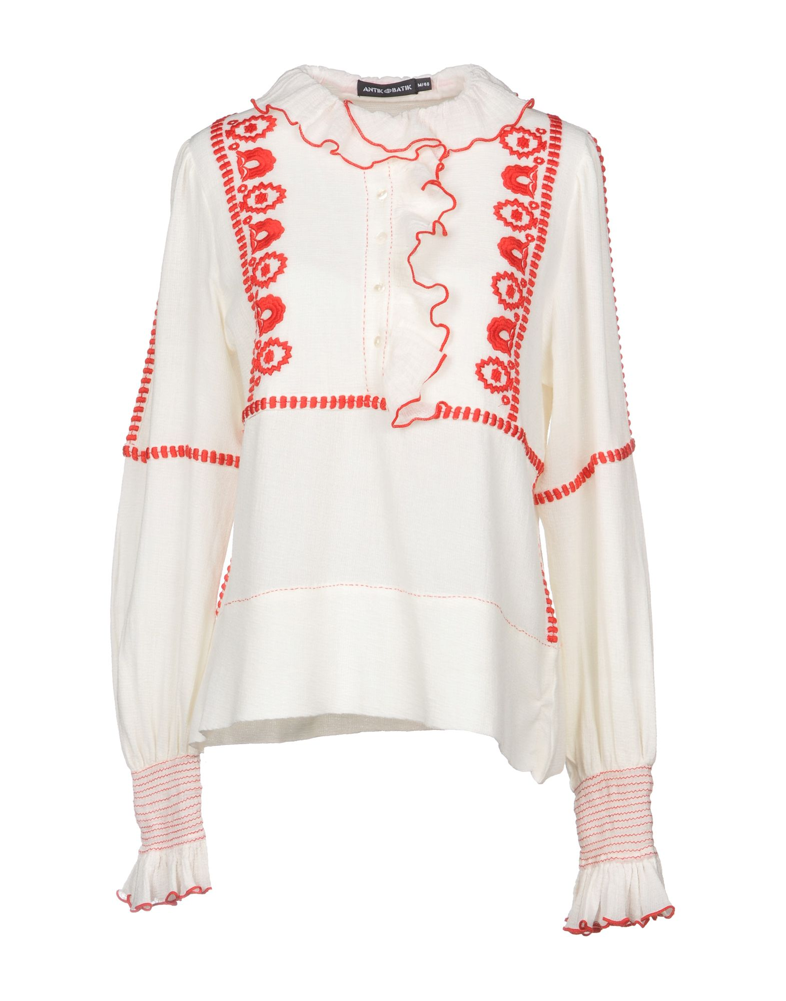 ANTIK BATIK Ruffle-Trimmed Embroidered Cotton Blouse in White