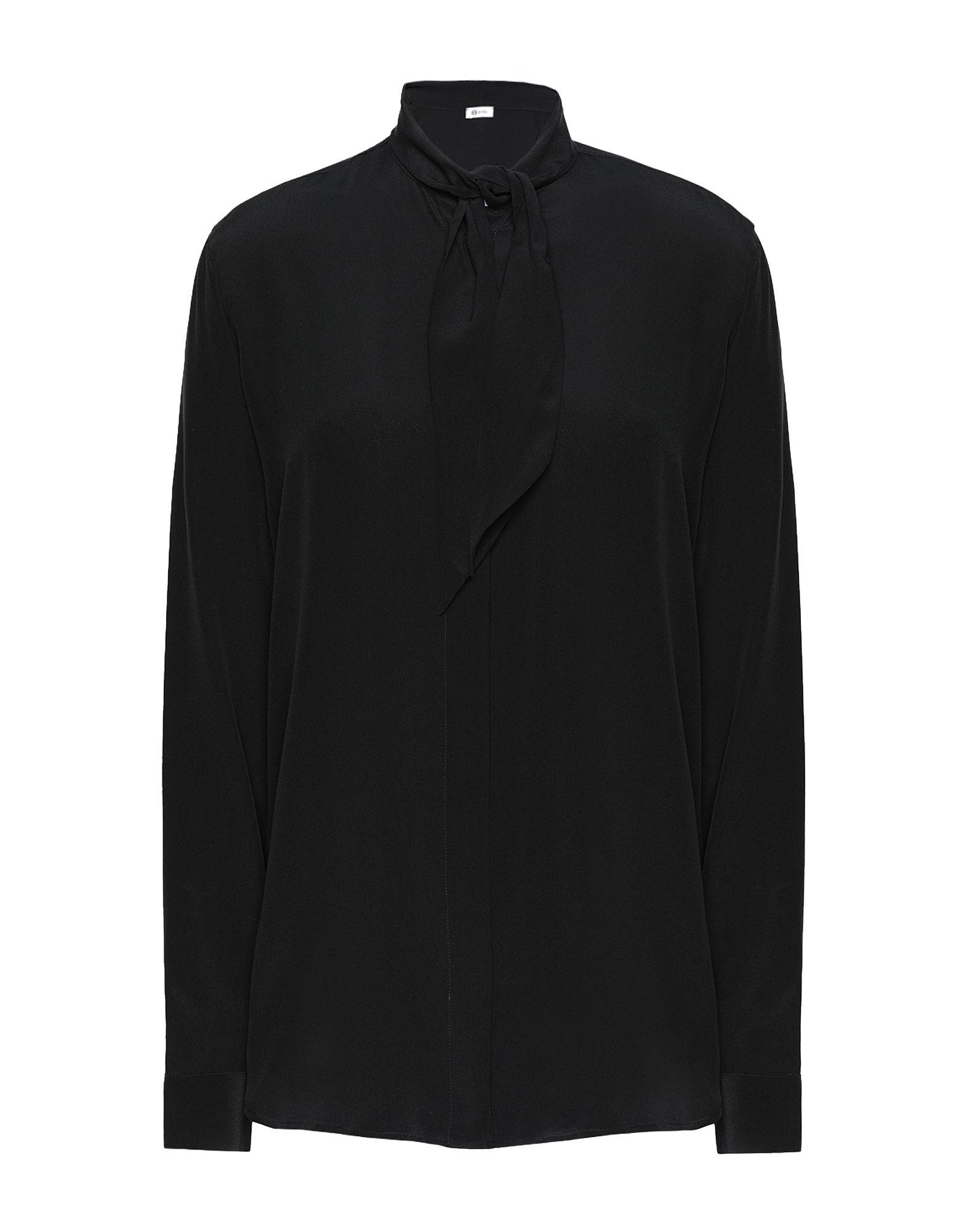 《送料無料》8 by YOOX レディース シャツ ブラック 38 シルク 100%