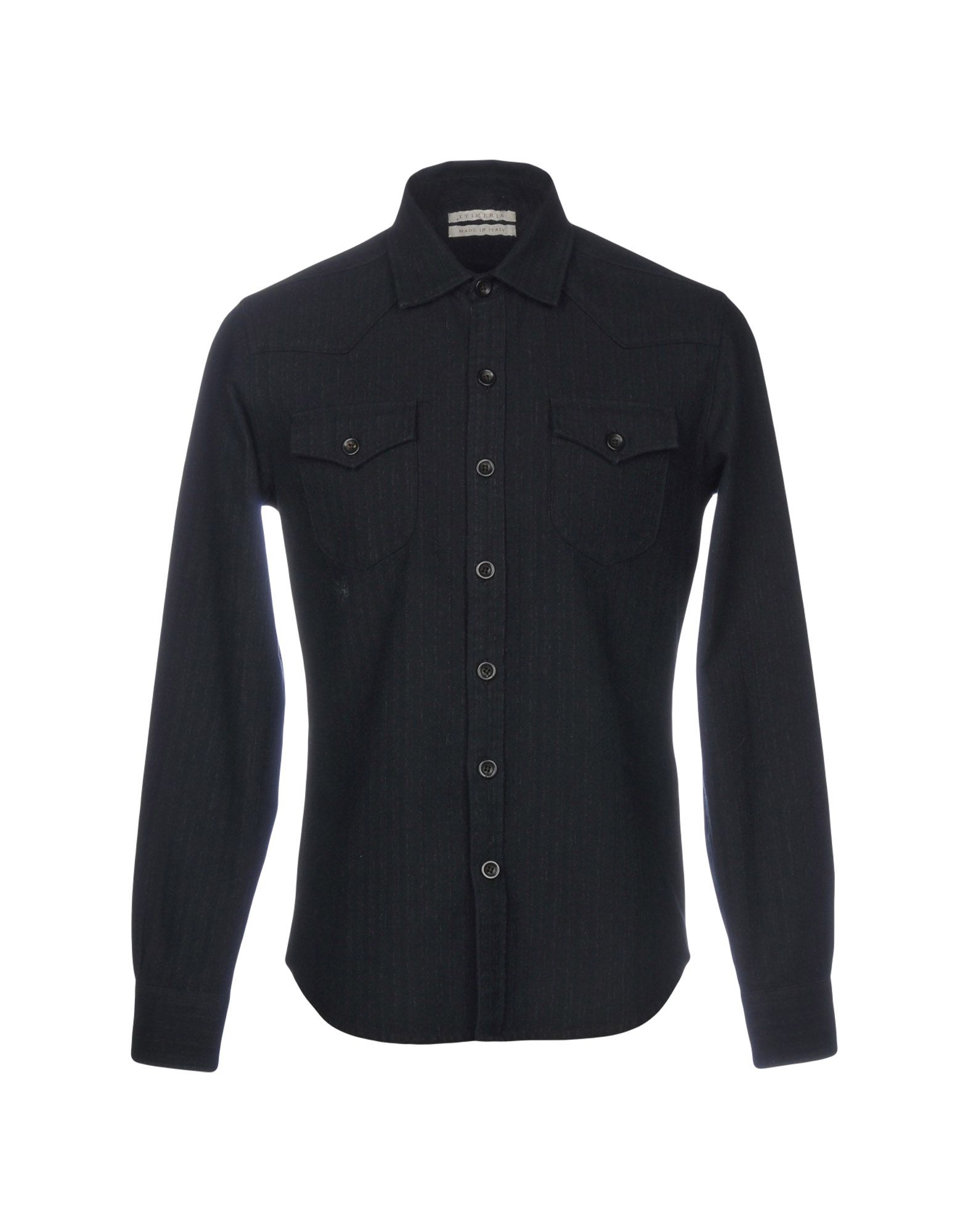 ITINERIS Solid Color Shirt in Dark Blue
