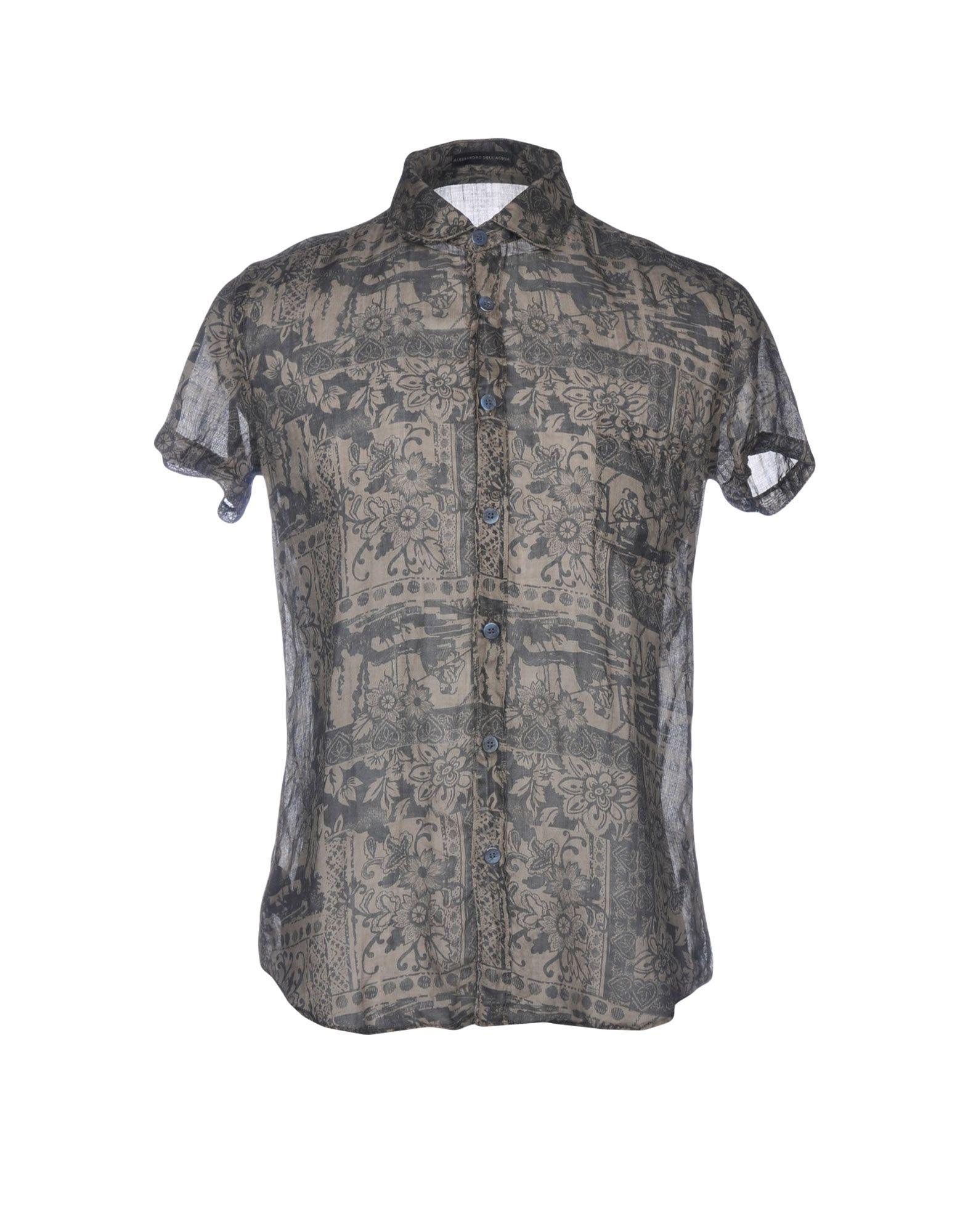 《送料無料》ALESSANDRO DELL'ACQUA メンズ シャツ グレー 40 ラミー 100%
