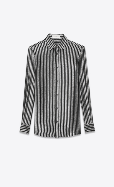 SAINT LAURENT Classic Shirts Woman lamé silk mousseline shirt a_V4