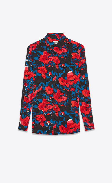SAINT LAURENT クラシックシャツ レディース Tone-on-tone rose silk jacquard shirt with multicolored flowers a_V4