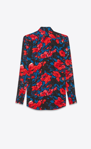 SAINT LAURENT クラシックシャツ レディース Tone-on-tone rose silk jacquard shirt with multicolored flowers b_V4