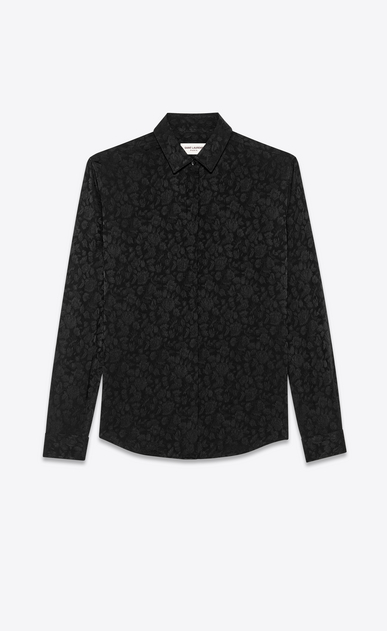 SAINT LAURENT クラシックシャツ レディース rose jacquard shirt in silk a_V4