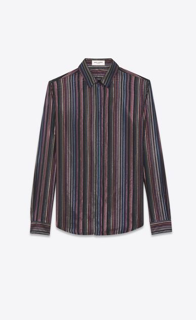 SAINT LAURENT Classic Shirts Woman lamé striped shirt in silk mousseline a_V4
