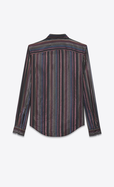 SAINT LAURENT Classic Shirts Woman lamé striped shirt in silk mousseline b_V4