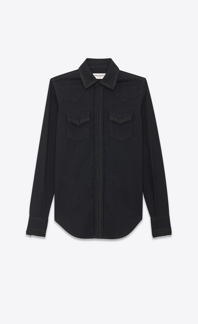 SAINT LAURENT Western Shirts Woman Western embroidered denim shirt a_V4