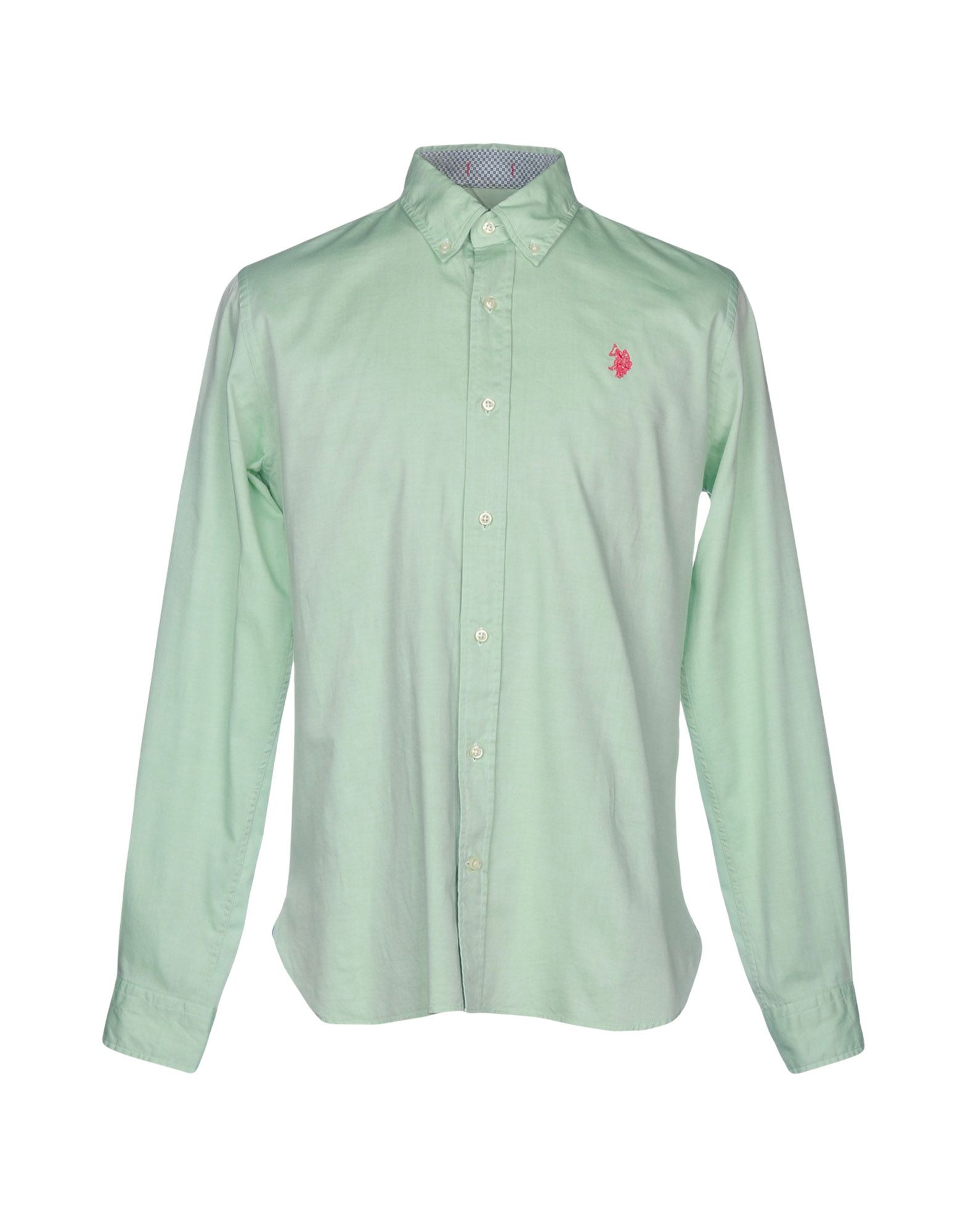 《送料無料》U.S.POLO ASSN. メンズ シャツ ライトグリーン M コットン 100%