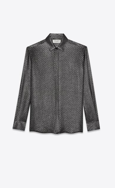 SAINT LAURENT クラシックシャツ メンズ silk jacquard lurex shirt a_V4