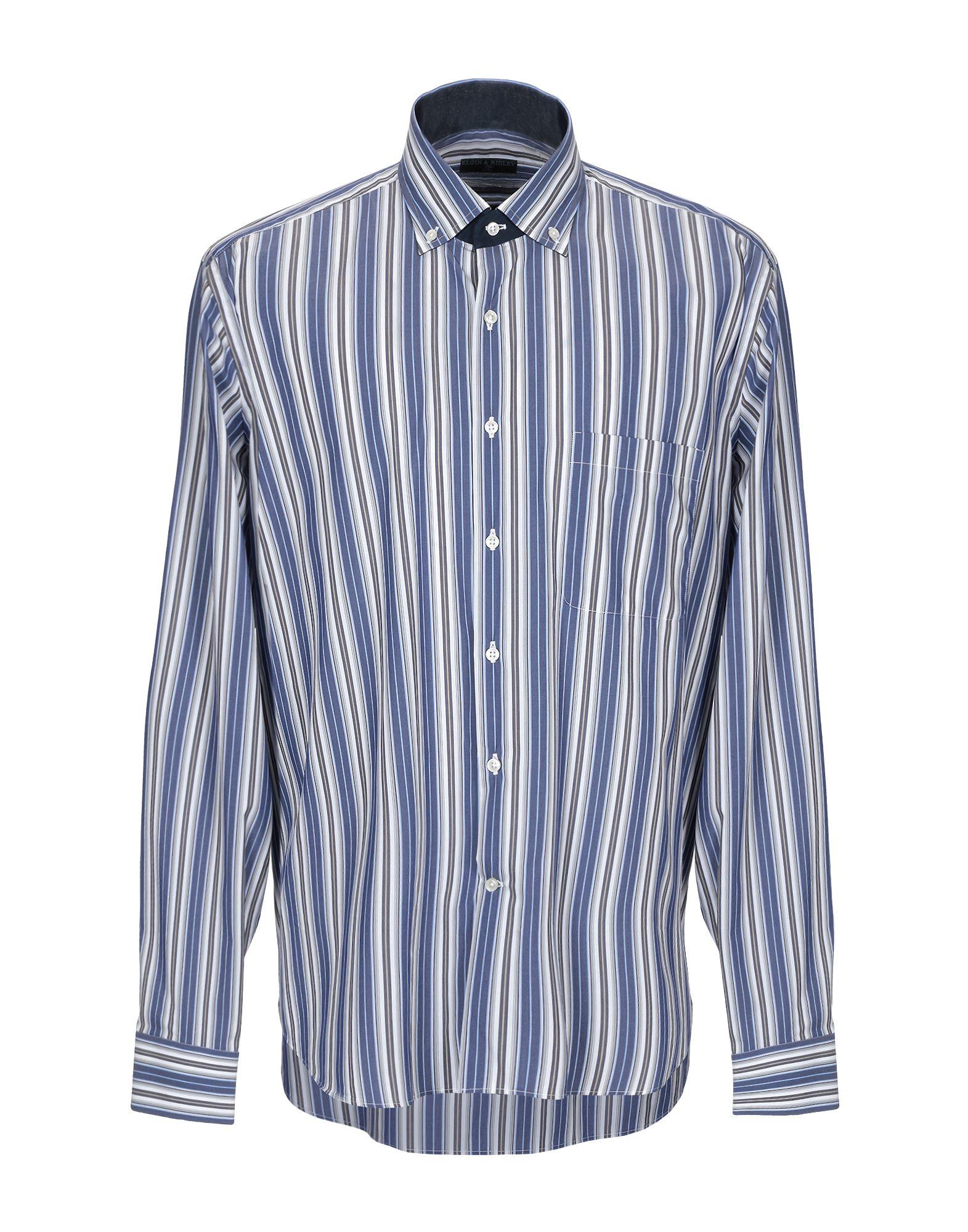 《送料無料》ELGIN & RIDLEY by TT メンズ シャツ ブルー 46 コットン 75% / ナイロン 20% / ポリウレタン 5%