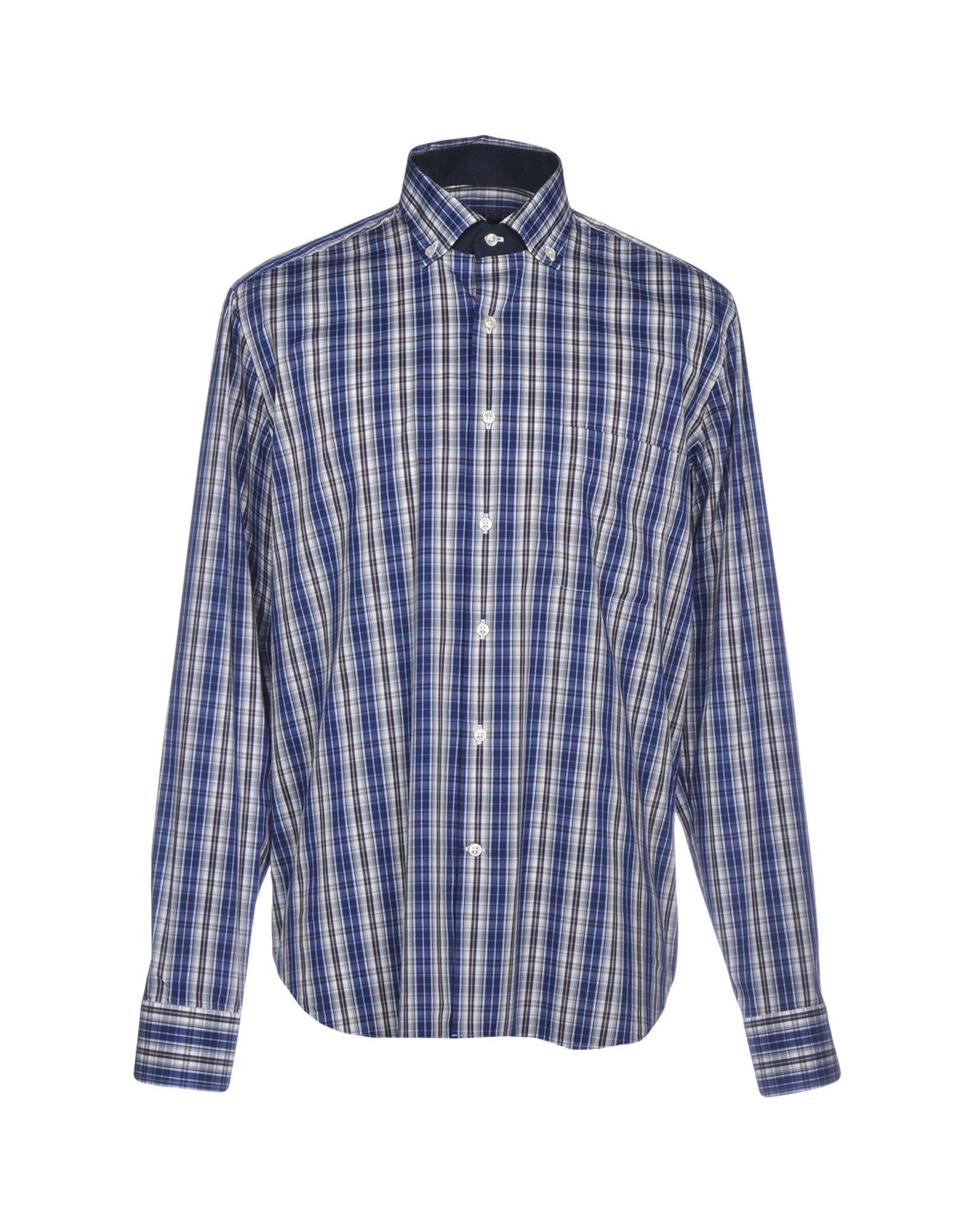 《送料無料》ELGIN & RIDLEY by TT メンズ シャツ ブルー 43 コットン 75% / ナイロン 20% / ポリウレタン 5%