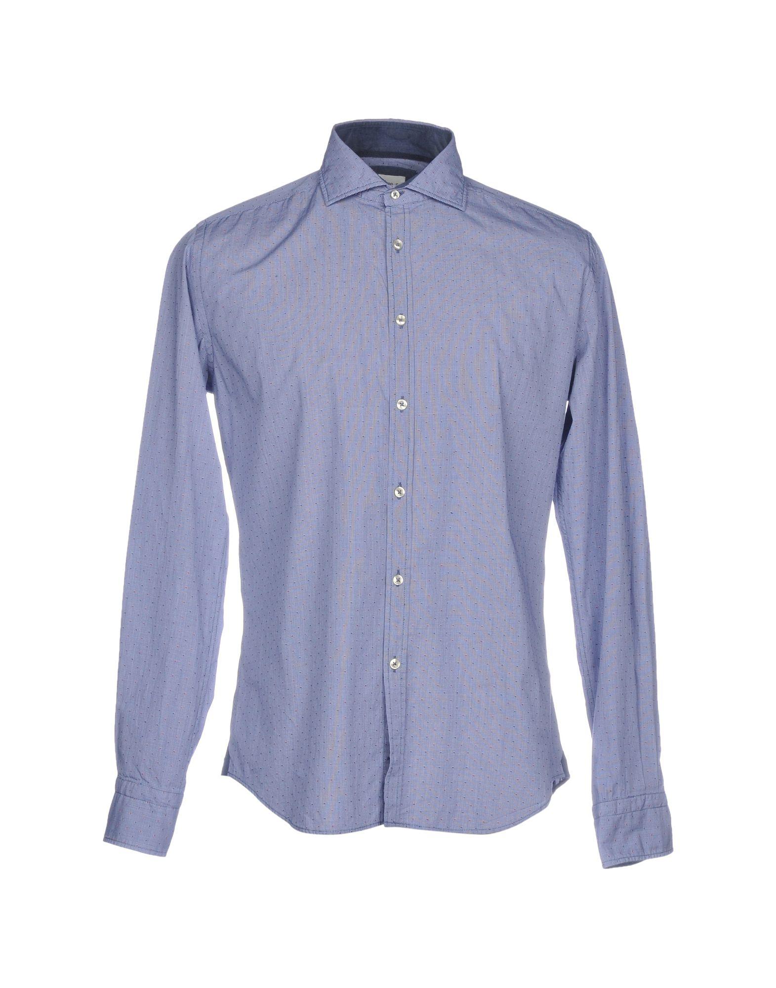 《送料無料》JACOPO C. メンズ シャツ アジュールブルー 41 コットン 100%